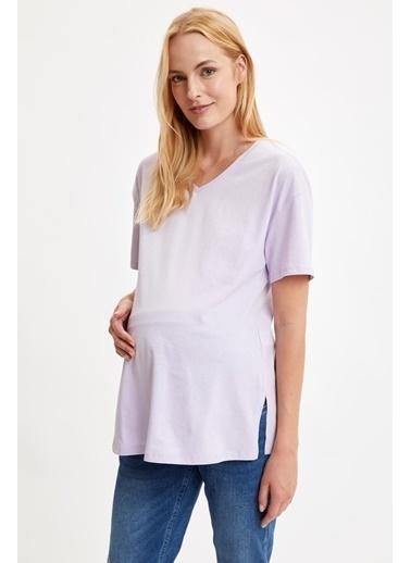 DeFacto Relax Fit Kısa Kollu Hamile T-Shirt Mor